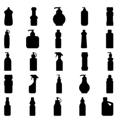 Set of silhouettes of containers and bottles house vector image