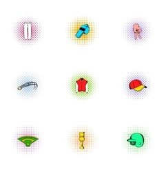 Sport with bat icons set pop-art style vector image vector image