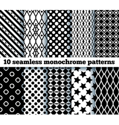 10 seamless monochrome patterns vector image