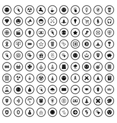 100 interface pictogram icons set simple style vector
