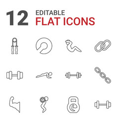 12 strength icons vector image