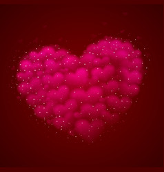a big pink heart made small hearts placed vector image