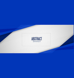 abstract geometric blue wide banner layout design vector image