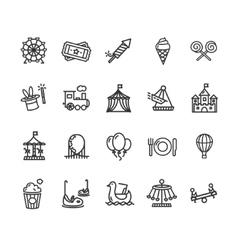 Amusement Park Outline Icon Set vector