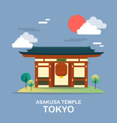 Asakusa temple ancient place in tokyo desig vector