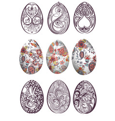 Big set easter eggs decorated with swirls vector