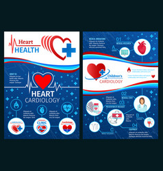 Brochure of cardiology heart medicine vector