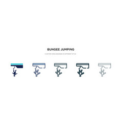 Bungee jumping icon in different style two vector