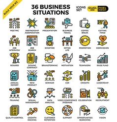 Business situations icons vector