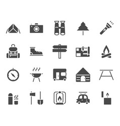 camping and travel related icon set vector image