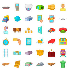 cargo icons set cartoon style vector image