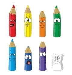 Cartoon emotional pencil set color 10 vector image