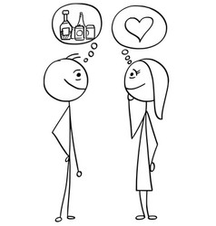 cartoon of man and woman talking about alcohol vector image