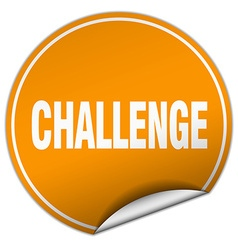 Challenge round orange sticker isolated on white vector