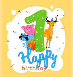 children 1st birthday greeting card vector image