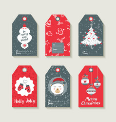 Christmas set of labels and tags for holiday gifts vector