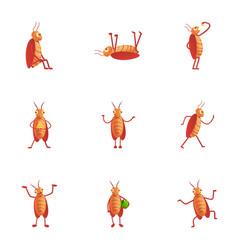Cockroach icon set cartoon style vector