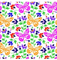 colorful butterflies and flowers vector image