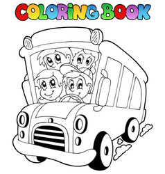 Coloring book with bus and children vector