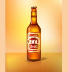 Craft beer in bottle with cap realistic 3d vector