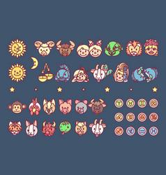 Cute zodiac horoscope icons vector