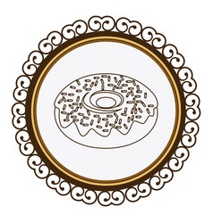 Decorative frame with silhouette donut with glazed vector