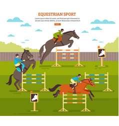 Equestrian sport background composition vector