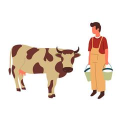 Farmer and cow farming and livestock animal vector
