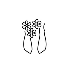 feet with flowers spa outline icon signs and vector image