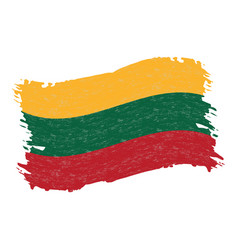 flag of lithuania grunge abstract brush stroke vector image