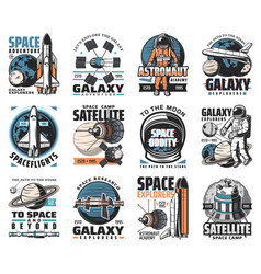 Galaxy exploration icons space labels set vector