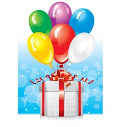 gift with balloons vector image