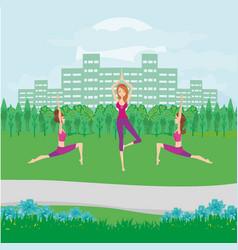 Girls exercises in park vector