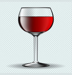 Glass of vine on transparent background vector