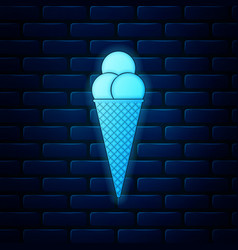 glowing neon ice cream in waffle cone icon vector image