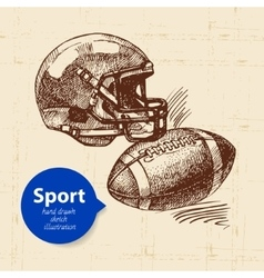 Hand drawn sport object Sketch american football vector