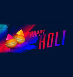 Happy holi festival colors banner with powder vector