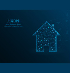 home symbol real estate polygon icon on blue vector image