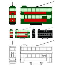 Hong kong tram colored asia vector