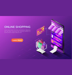 Isometric web banner online shopping system in vector