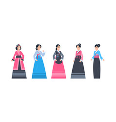 korea traditional clothes set of women wearing vector image