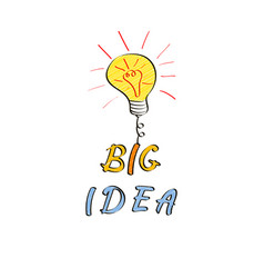 Light bulb in doodle style big idea hand drawn vector