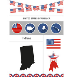 Map of indiana set of flat design icons vector