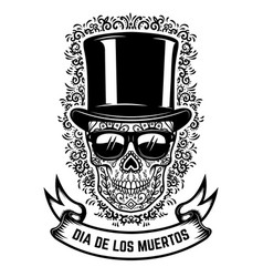 mexican sugar skull in vintage hat and sunglasses vector image