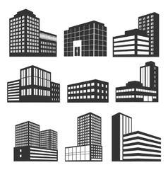 Modern business buildings black icons vector image
