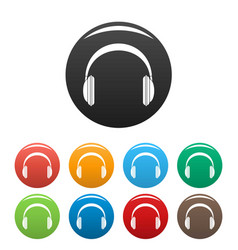 modern headphones icons set color vector image