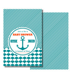 nautical baby shower card sea theme baby party vector image