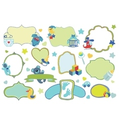 Newborn Baby boy badgeslabels setBaby shower vector