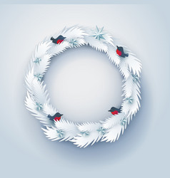 Paper christmas decorated wreath vector