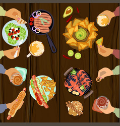 Persons is eating lunch vector